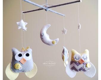 Baby Mobile - Neutral Baby Mobile - Owl Baby Mobile - Chevron Yellow and Grey Baby Mobile - for Baby Girl or Boy - Nursery Mobile