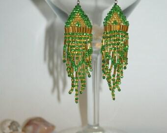 Green and Yellow Dangle Earrings