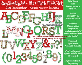Christmas Alphabet Clipart, Punctuation & Number Clipart - Instant Download, Red Green Letter Digital Clipart, Xmas Clipart