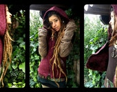 RESERVED to Marta!!!!  Not for sell!!  Rustic magic furry hooded vest,  Handmade Elf tribal woodland forest psy trance festival.