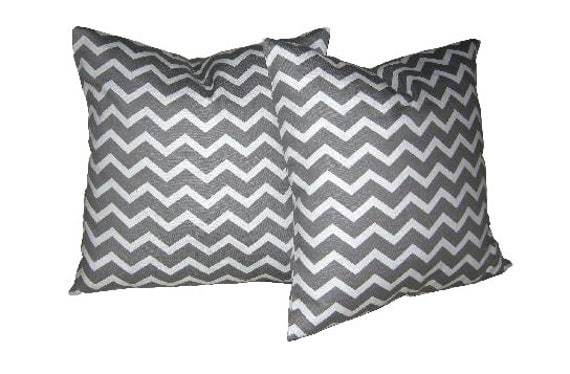 20 Inch Throw Pillow Covers : Throw Pillow Cover 20 x 20 inch Grey and White Chevron