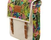 Flower Burst Backpack, Canvas and Leather Print Backpack, Mediterranean Inspired, Sunny, Flower Printed Bag, Women's Backpack