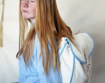 White & Blue Heap Line, Backpack, Retro, Vintage Inspired, Canvas and Leather Bag, Women's Backpack