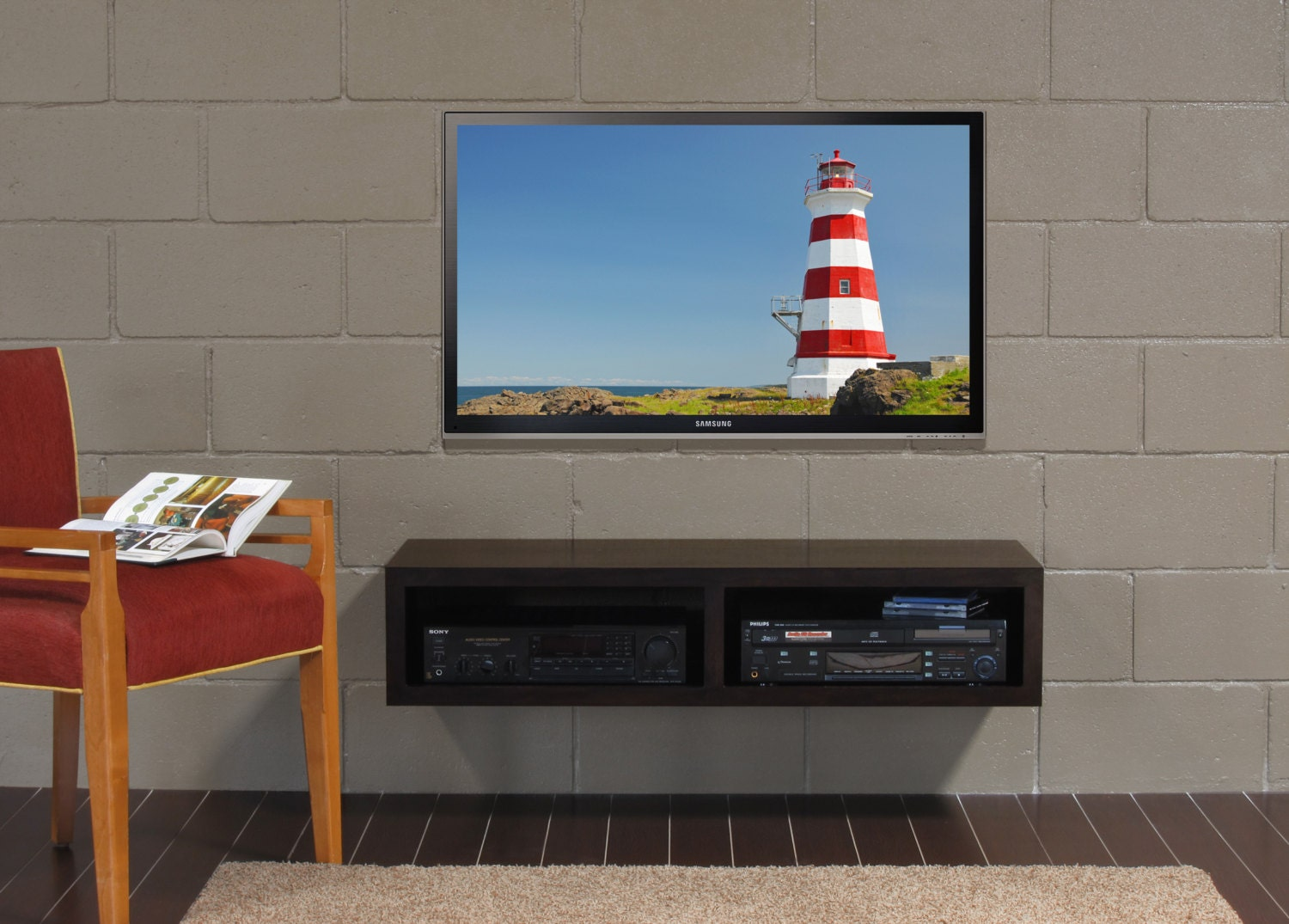 Modern Wall Mount Hanging Tv Stand Mayan Double Bay Espresso