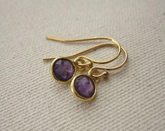 Purple Amethyst Gold Plated Bezel Earrings - Petite Jewelry