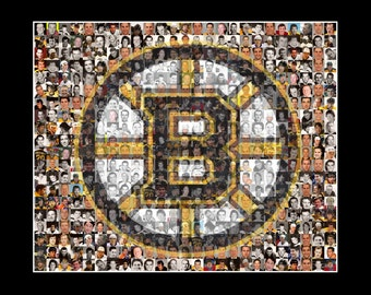 Boston Bruins Mosaic Print Art Created Using Past and Present Bruins Player Photos.