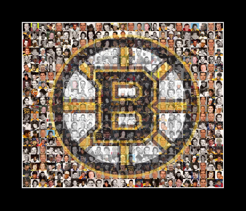 Boston Bruins Mosaic Print Art Created Using Past and Present