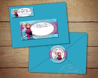 Frozen Address Labels and Envelope Seal, Frozen Return Address Label, DIY Printable Envelope Mailing Labels, Frozen Mailing Envelope Labels