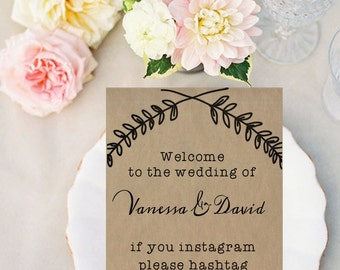 Instagram Sign, Wedding, DIY Printable Invitation, Save The Date, Engagement, Print at Home, Rustic, Stationary, Fun, Unique
