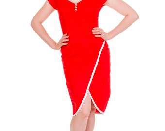 50s inspired boned off the shoulder wiggle pencil dress, in a striking red with white trim & finished with cute bow buttons