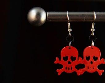 Red Plastic Skull Earrings (E0019)