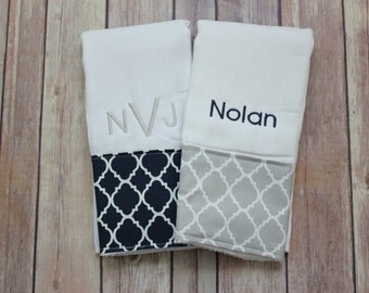 Monogrammed Burp Cloth Set, Baby Boy Burp Cloth, Monogrammed Baby Boy Gift, Monogrammed Baby Gift, Baby Shower Gift, Baby Boy Gift, New Baby
