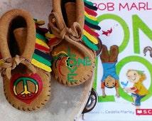 Custom Painted One Love Bob Marley Rasta Peace Reggae Baby Moccasins