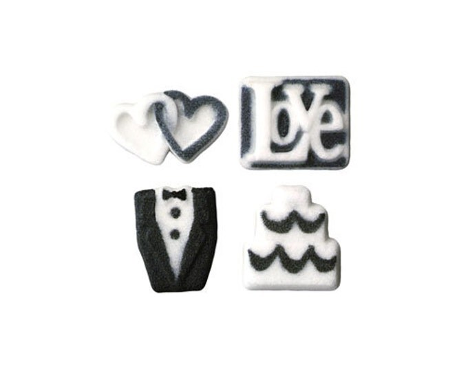 30 Wedding Assortment Molded Sugar Cake / Cupcake Topper Decorations Tux Bride Hearts Cake Love