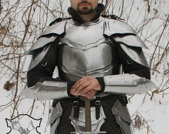 """Larp, elven, fantasy, medieval costume, steel armor, armour: cuirass (front and back) """"Combatant"""""""