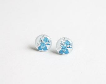 10mm small studs, small stud earrings, small earrings, flower stud earrings, flower studs, small posts, flower earrings, white and blue