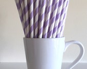 Purple Striped Paper Straws Light Purple, Lavender, Lilac Party Supplies Party Decor Bar Cart Accessories Cake Pop Sticks Graduation
