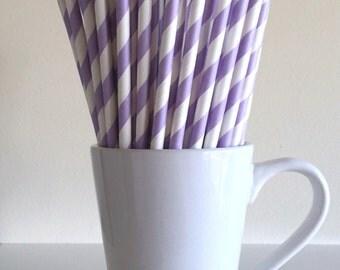 Purple Striped Paper Straws Light Purple, Lavender, Lilac Party Supplies Party Decor Bar Cart Cake Pop Sticks Graduation Graduation