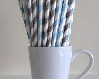 Blue and Gray Striped Paper Straws Light Blue and Grey Party Supplies Party Decor Bar Cart Cake Pop Sticks Mason Jar Straws Graduation