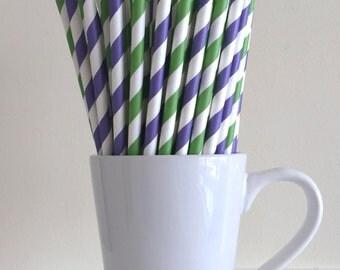 Purple and Green Striped Paper Straws Party Supplies Party Decor Bar Cart Cake Pop Sticks Mason Jar Straws Graduation