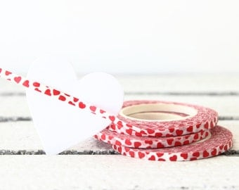 Heart Washi Tape, Thin Washi Tape, Skinny Washi Tape, Thin Planner Tape, Valentine Washi Tape, Valentine Packaging, Planner Sticker