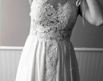 Sample sale -Floor Length Ivoryor White Lace, Tulle and Chiffon Wedding Dress Gown.