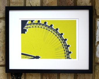 London eye print, original limited edition, London screen print, London art, chartreuse and grey screenprint 30 x 40cm