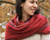 Luxurious Ruby Red Infinity Scarf / Upcycled Cashmere / Handknit Wool Silk / Cranberry Circle Scarf / Eco friendly accessories / fair trade