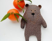 Weird Gray Stuffed Toy Bear Plushie Birthday gift - Soft Strange Woodland Creature - Embroidered Animal toy Kids gift, baby shower gift