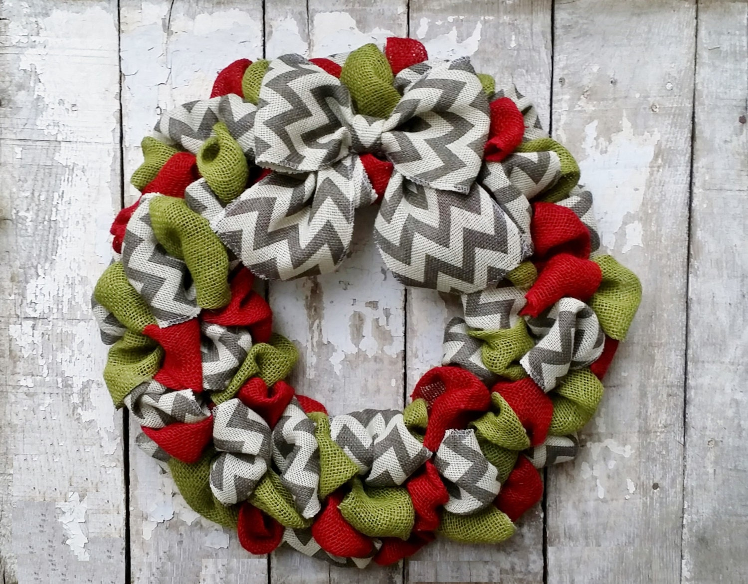 Chevron burlap christmas wreath holiday wreath by burlapblooms Burlap xmas wreath