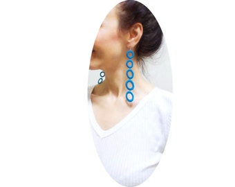 Turquoise Circle Lace earrings, Hand dyed Long Doily Earring, Asymmetric