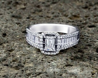Baguette Engagement Ring, Sleek Baguette Diamond Ring, Dainty Ring With Baguettes, 14 Karat Baguette Engagement Ring  | LDR01689