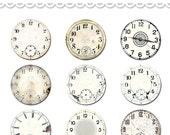 "Vintage clocks watch faces digital collage sheet  / printable 2"" diameter circles / 2 inch circles / round circles / printable PDF"