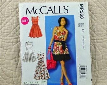 Dress, M L XL, McCalls MP363 Pattern, Fitted, Lined, Scoop Neck, Gathered Skirt, Back Zipper, 2014 Uncut, Size 14 16 18 20 22
