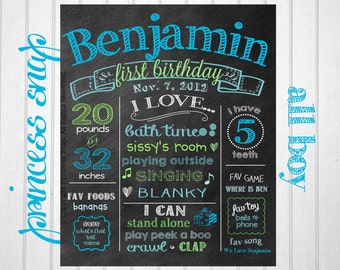 Boy First Birthday Chalkboard Poster - Blue and Green 1st Birthday Chalk Board Sign - Printable Photo Prop