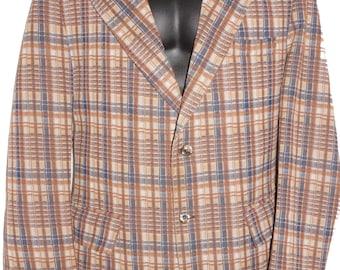 1970s Polyester Mens Plaid Wide Lapel Jacket L Vintage Hippie Retro