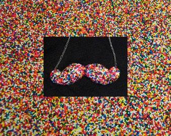 Sprinkle Necklace - Rainbow Sprinkle - Mustache Necklace - Sprinkle Jewelry