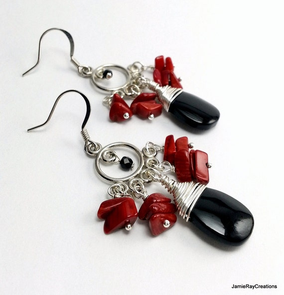 Red Designer Chandelier Earrings: Red And Black Boho Chandelier Earrings Red By