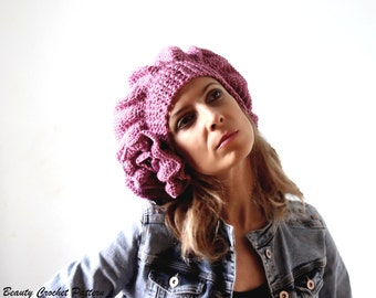 """Crochet Pattern Beret """"Paris"""", Crochet Slouchy Hat Pattern, French Beret Pattern, Crochet Beret Slouchy Hat Pattern, Womens Hat"""