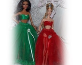 Handmade Barbie Clothes Red or Green Christmas Crinoline, Bra & Panty Sets by JanCo  Please pick a color at checkout.