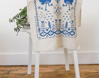 Birds Tea Towel, Art Prints, Wall Art, Tea Towels, Bird Gift, Dish Cloth, Screen print, Boho, Sky Blue, Home Sweet Home