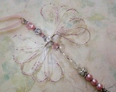 Pink Dragonfly Suncatcher/Pink Crystal Dragonfly Ornament/Altar Nature Table/Car Decoration/Fairy Horse Folklore/Shabby Chic Home/Cute Gift