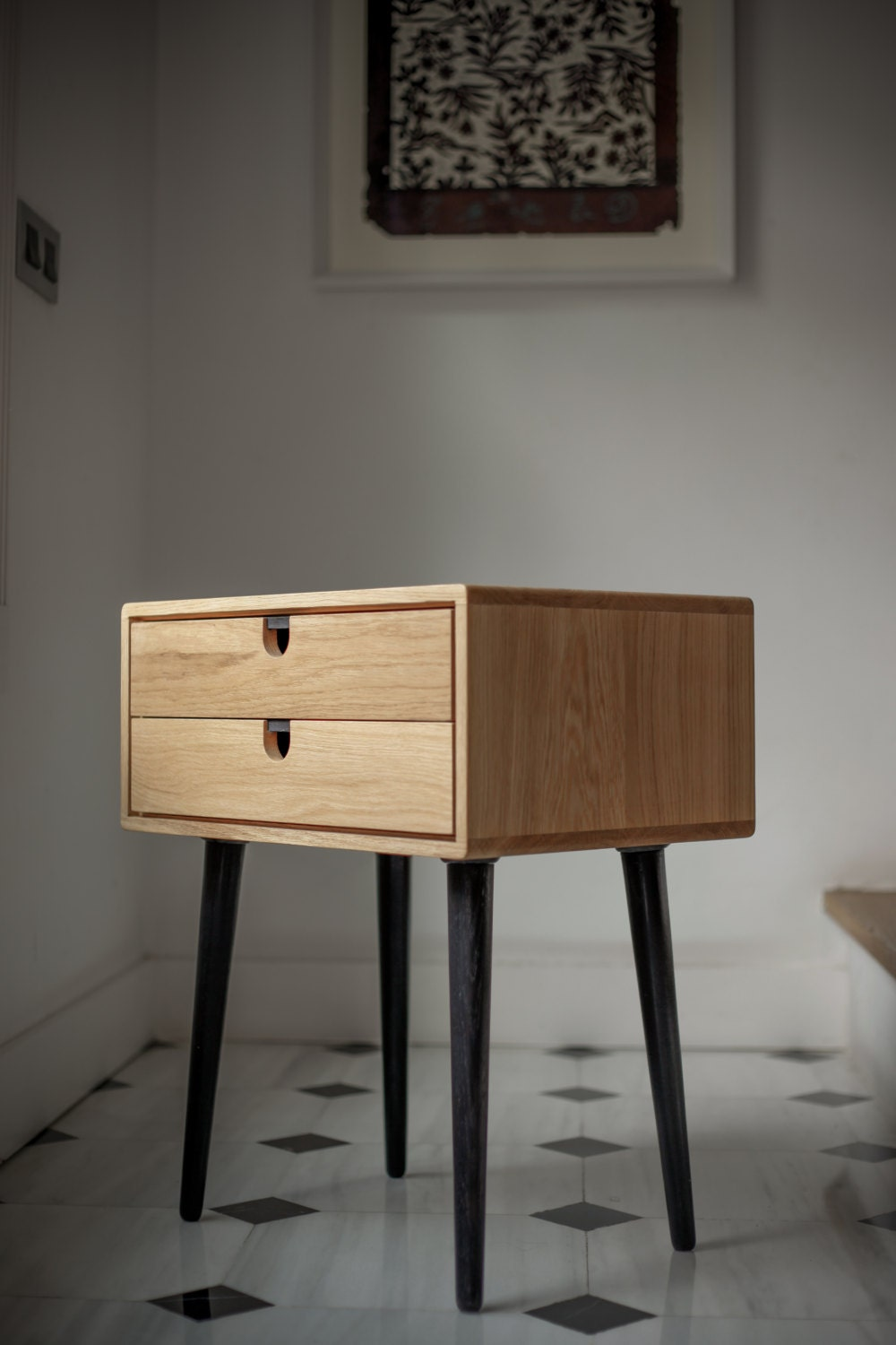 Mid century scandinavian side table nightstand two drawers - Fabriquer table de nuit ...