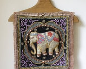 1970s beaded indian fabric/ quirky Indian textile/ elephant textile art/ boho fabric wall hanging/bohemian decor/vintage fabric craft supply
