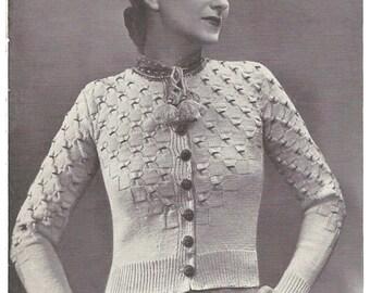 1930s Knitting Pattern for Womens Tyrolean Cardigan / Vest / Jacket - 31 in bust 80 cm  - Digital PDF
