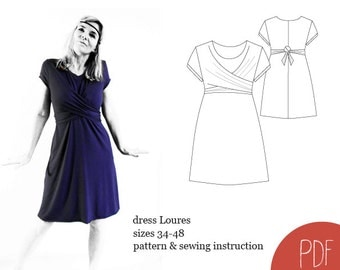 sewing pattern dress Loures, woman dress pattern, sewing pattern, PDF pattern, instant download