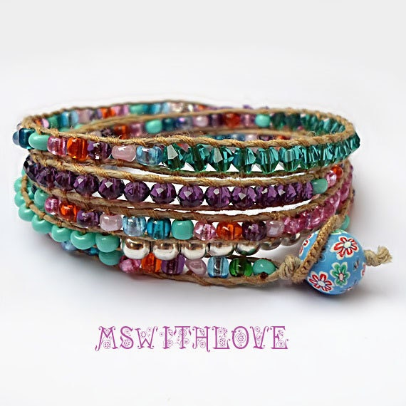colorful five wrap bracelet bohemian wrap bracelet