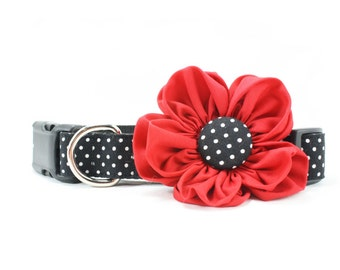 Red Dog Flower Collar Black White Swiss Dot Wedding Girl Dog Collar Flower - Bonnie