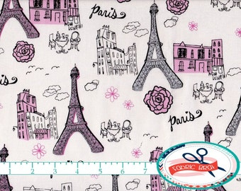 PINK & GRAY PARIS Fabric by the Yard, Fat Quarter Glitter Fabric Eiffel Tower Fabric 100% Cotton Fabric Quilting Fabric Apparel Fabric a1-1
