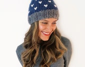 Chunky Soft Knit Hat Heart Beanie Pompom Ski Cap // Loveland Hat in Forget-Me-Not, Charcoal, and Rice // Many Colors Available